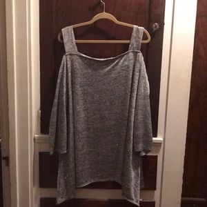 Sparkly open shoulder silver blouse by the Avenue
